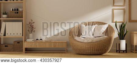 Scandinavian Cozy Living Room Interior Design, Wicker Round Chair, Wood Poster Frame Mockup, Vr Gami