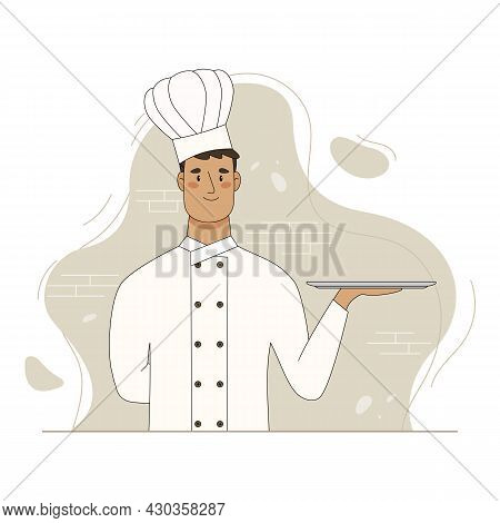 Chef Hold Empty Serving Tray For Food. Vector Flat Cartoon Illustration