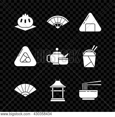 Set Khinkali On Cutting Board, Paper Chinese Or Japanese Folding Fan, Sushi, Japan Gate, Asian Noodl