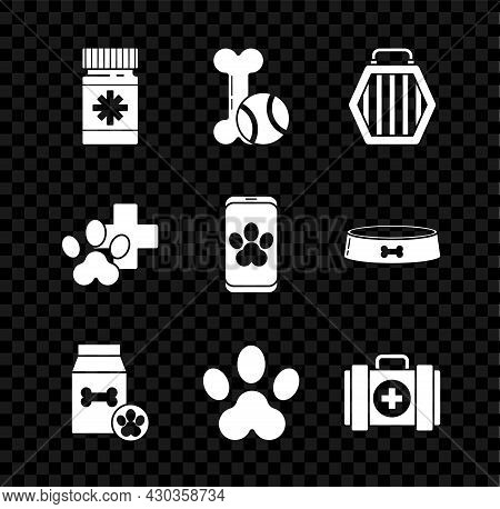 Set Dog Medicine Bottle And Pills, Pet Toys Bone Rubber Ball, Carry Case, Bag Of Food For Pet, Paw P