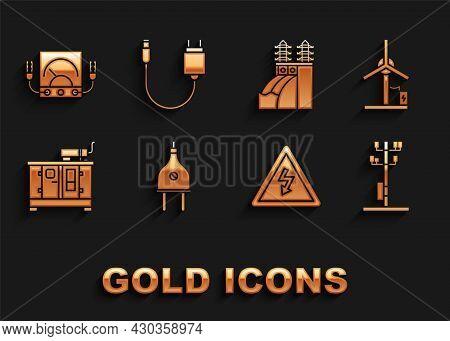 Set Electric Plug, Wind Turbine, High Voltage Power Pole Line, Sign, Diesel Generator, Nuclear Plant