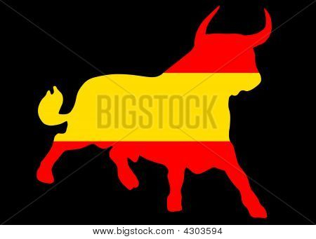 Bull In The Spanish Colors On Black