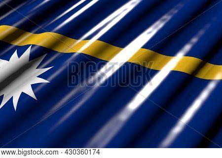 Cute Shining - Looking Like Plastic Flag Of Nauru With Large Folds Lie Diagonal - Any Feast Flag 3d