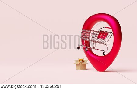 Red Pin With Stainless Steel Cart,point Shopping Or Supermarket Center,map Pointer For Department St