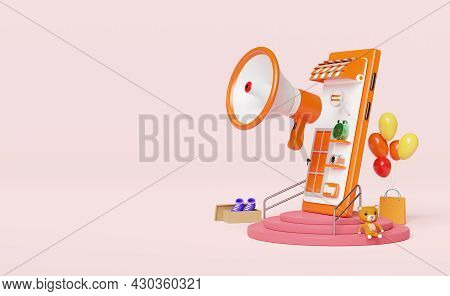 Mobile Phone,smartphone With Store Front,balloon,goods Cardboard Box,shopping Paper Bags,megaphone,h