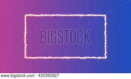Empty Frame Burning Power Rectangle Border Glowing, Orange Fire Lightning Sign On Trendy Background.