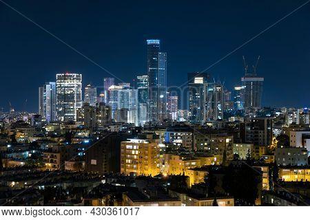 The Ramat Gan And Givatayim City Skyline, Ramat Gan Cityscape at Night, Israel