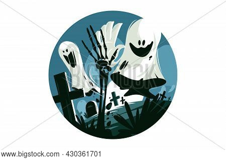 Scary White Ghost Vector Illustration. Circle With Screaming Festive Character Flat Style. Crosses O