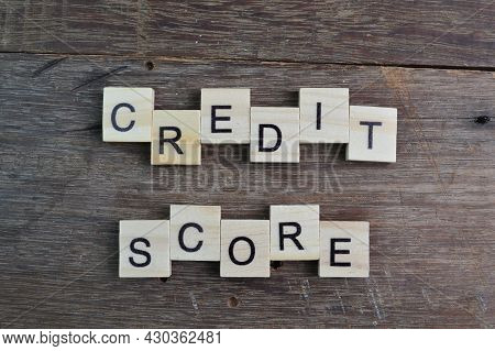 Square Letters With Text Credit Score. Business Concept
