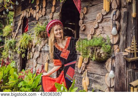 A Female Tourist Dressed In The Traditional Dress Of The Inhabitants Of The Vietnamese Mountains, Th