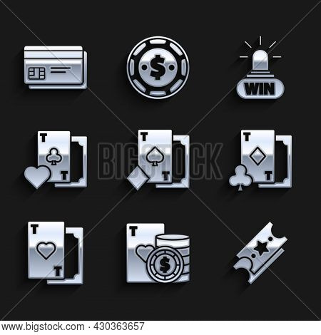 Set Playing Card With Spades, Casino Chip And Playing Cards, Lottery Ticket, Diamonds, Heart, Clubs