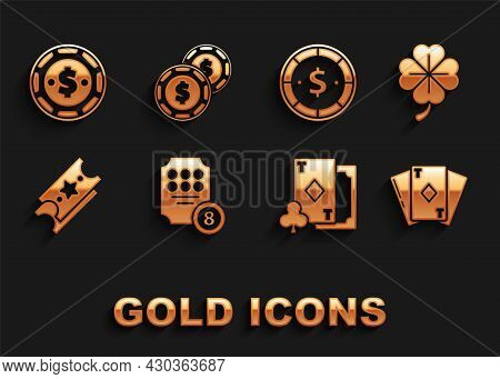 Set Online Slot Machine, Four Leaf Clover, Playing Card With Diamonds, Lottery Ticket, Casino Chip D