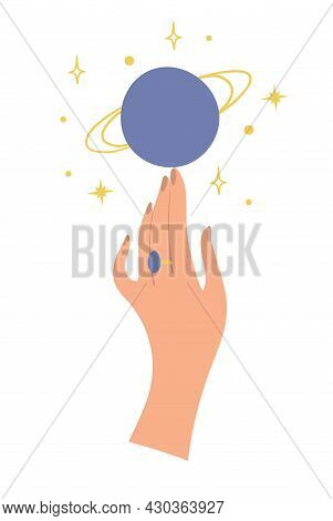 A Graceful Female Hand Touches The Planet Jupiter. Flat Boho Sticker For Astrology, Predictions, Wit