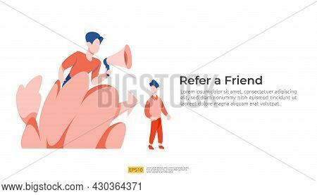Refer A Friend Illustration Concept. Affiliate Marketing Strategy. People Character Shout Megaphone
