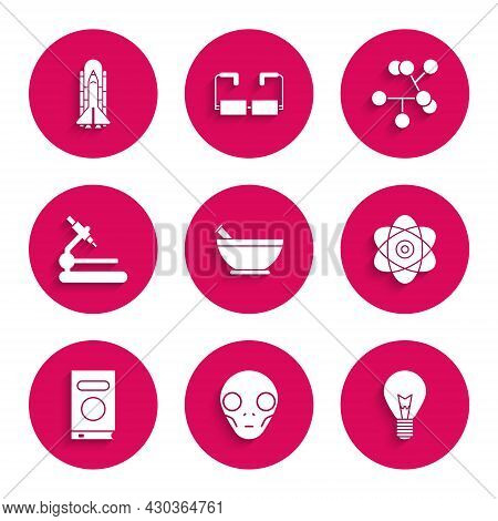 Set Mortar And Pestle, Extraterrestrial Alien Face, Light Bulb With Concept Of Idea, Atom, Book, Mic