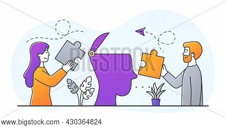 Mental Health Concept. Man And Woman Put Pieces Of Puzzle In Silhouette Of Head. Emotional And Psych