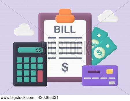 Pay Bills And Tax Concept. Abstract Poster With Calculator, Check, Dollar Bills And Credit Card. Acc