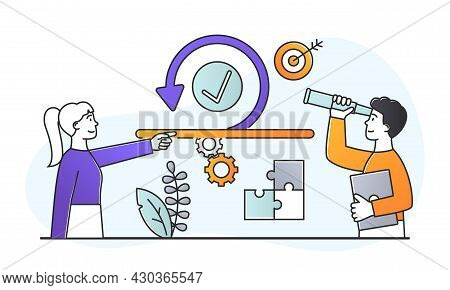 Scrum Agile Concept. Software Development Method. Man And Woman Use Adaptive Programming Methods And