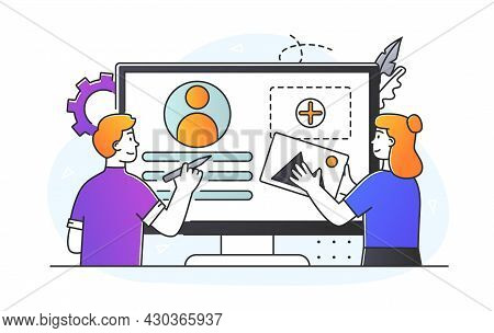 Ui Ux Development Concept. Professional Designers Create Visual Part Of Website Or Application. Team