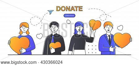 Social Care And Charity Concept. Men And Women Hold Hearts In Their Hands. Volunteers Make Donations