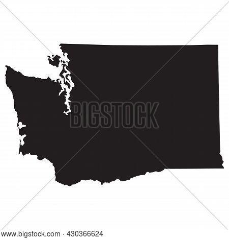 Washington Map On White Background. Washington State Sign. Washington State Of Usa Black Outline Map