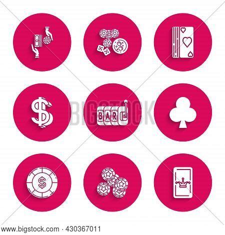 Set Slot Machine, Casino Chips, Joker Playing Card, Playing With Clubs Symbol, Dollar, Dollar, Deck