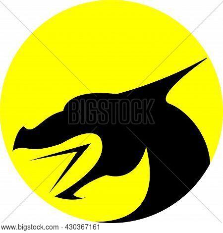 Black Dragon Image On Yellow Background Icon  Logo