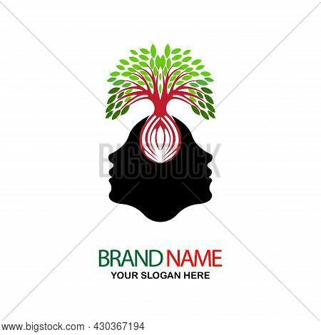 Simple Illustration Of Two Opposing Black Human Faces With A Tree On Their Head, Great For Logos And