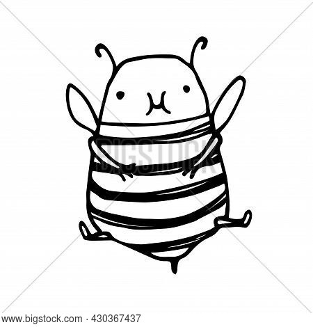Cute Fat Baby Bee After Dinner, Funny Character, Vector Illustration With Black Ink Contour Lines Is