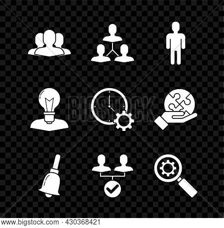 Set Users Group, Project Team Base, Of Man In Business Suit, Ringing Bell, Magnifying Glass And Gear