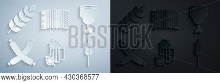 Set Glass Of Beer And Hop, Chicken Leg, Crossed Sausage, Cereals Set With Rice, Wheat, Corn, Oats, R