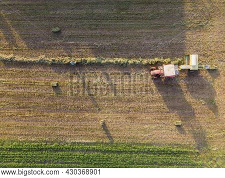 Aerial Flight Over Green And Lush Agricultural Fields On Sunny Morning