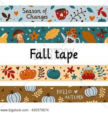 Autumn Tape Set Or Trendy Scrapbooking Autumnal Banner.