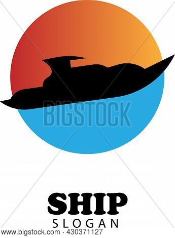 Vector Illustration Of Boat With Sunset And Sea Water As Background, Suitable For Logos And Icons Of
