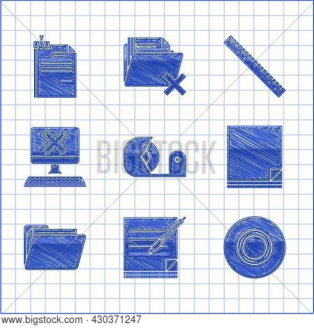Set Scotch, Blank Notebook And Pen, File Document, Document Folder, Computer With Keyboard X Mark, R