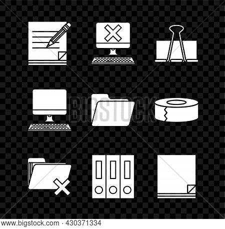 Set Blank Notebook And Pencil With Eraser, Computer Keyboard X Mark, Binder Clip, Delete Folder, Off