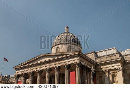 London, United Kingdom - Apr 19, 2019 : View Of National Portrait Gallery At Trafalgar Square. Art A