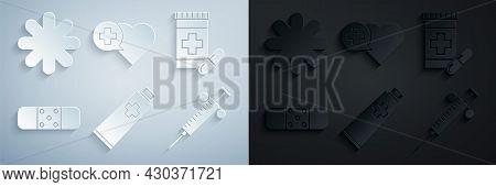 Set Ointment Cream Tube Medicine, Medicine Bottle And Pills, Bandage Plaster, Syringe, Heart With Cr
