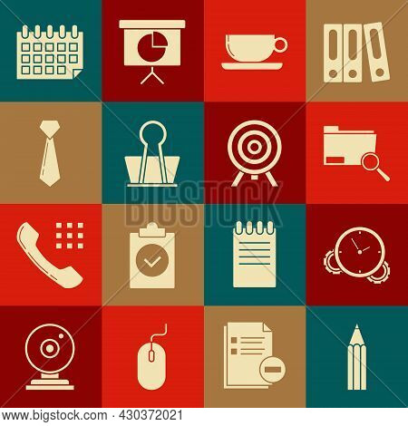 Set Pencil, Time Management, Search Concept With Folder, Coffee Cup Flat, Binder Clip, Tie, Calendar