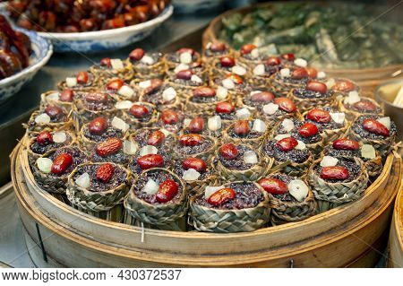 Local Street Food And Snacks Sold At The Qibao Old Street In Qibao Ancient Town, A Historic Water To