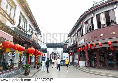 Shanghai, China - September 2019: Buildings And Shophouses Built In Traditional Chinese Architecture
