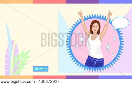 Smiling Brown Haired Woman Reaches Hands Up Cartoon Style