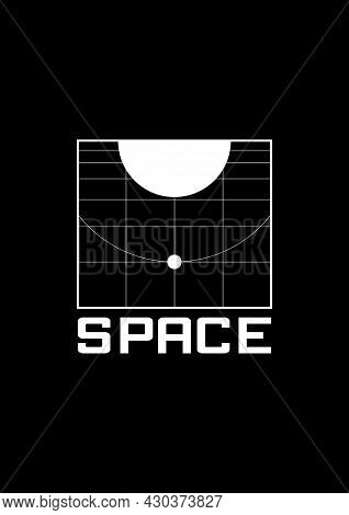 Space T-shirt And Apparel Design With The 1980s Space Aesthetics. Retrofuturistic Grid With The Plan