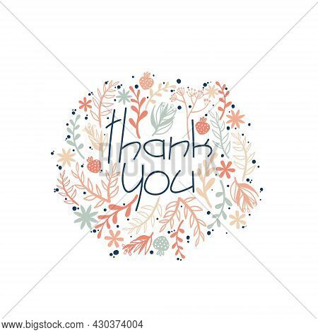 Thank You Greeting Card With Doodle Flower Silhouette. Hand Drawn Postcard With Slogan Thank You And