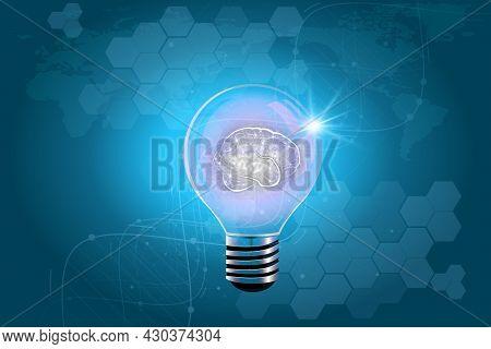 Glowing Light Bulb In Idea, Innovation And Inspiration Concept, Illuminated Light Bulb On Blue Bakgr