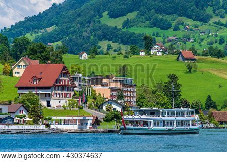 LUCERNE, SWITZERLAND, JUNE 05, 2016:  LAKE TOUR BOATS ON THE LAKE IN THE HISTORICAL CENTER OF LUCERNE.