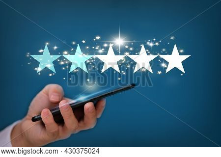 Holding The Stars To Complete Five Stars, Star Rating And Negative Reviews Concept, Reputation Manag