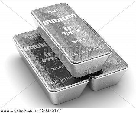 Iridium. Ingots Of The Highest Standard. There Are Three Ingots Of 999.9 Fine Iridium Bars On White