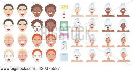 Large Set Of Female Faces Of Brunettes, Blondes, Redheads With Moisturizing Masks On The Face, With