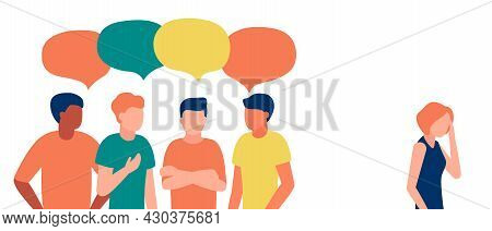 Group Of People Man Communicate, Ignoring, Bullying, Shaming, Hate, Abuse Woman Outcast. Loneliness,